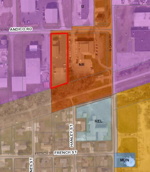 RZ-18-001 Whicker Building IV Rezone Map