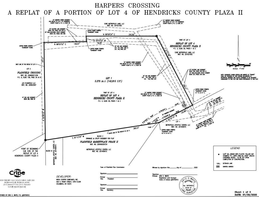 plat drawing for the Harper's Crossing development